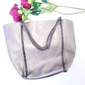 2/$55 Phase 3 chain faux leather tote